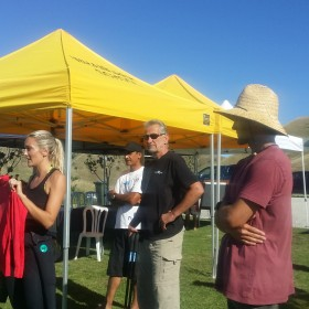 Amy-Rose Hardy, Murray Palmer and Joe Palmer hosting the Community Snorkel Day at Te Tapuwae o Rongokako Marine Reserve