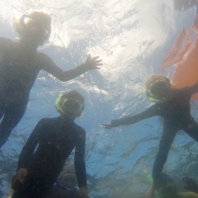 Students from Gisborne Central School exploring the reef at Te Tapuwae o Rongokako Marine Reserve.